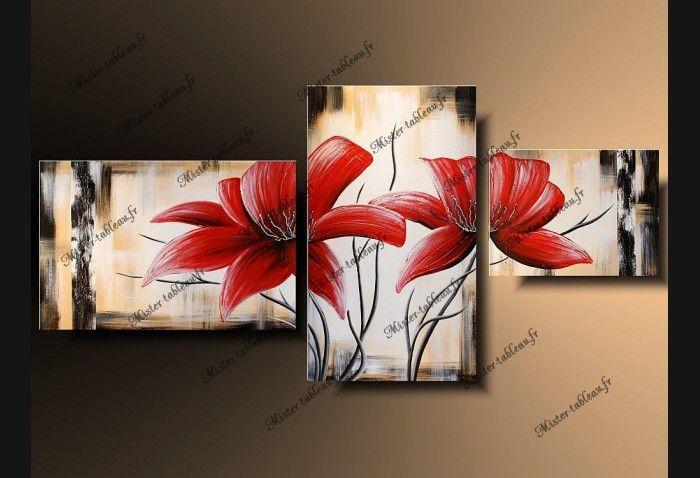tableau moderne fleurs rouges tableau pinterest tableau peinture et tableau photo. Black Bedroom Furniture Sets. Home Design Ideas