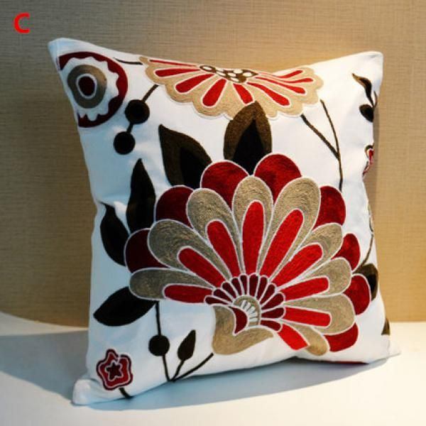 Embroidered flower body pillows for couch Chinese style