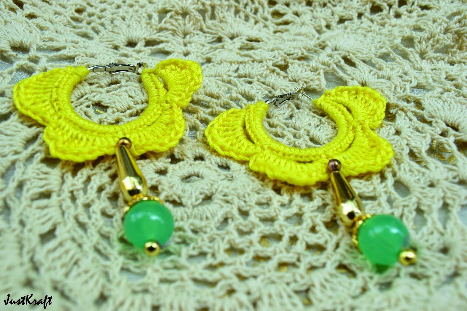 Yellow loop crochet earrings