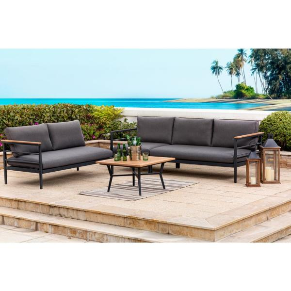 Glitzhome 6 Piece Aluminum Outdoor Sectional Sofa Set With Balck Cushions 2007100013 The Home Depot Sectional Patio Furniture Outdoor Sectional Sofa Wicker Outdoor Sectional