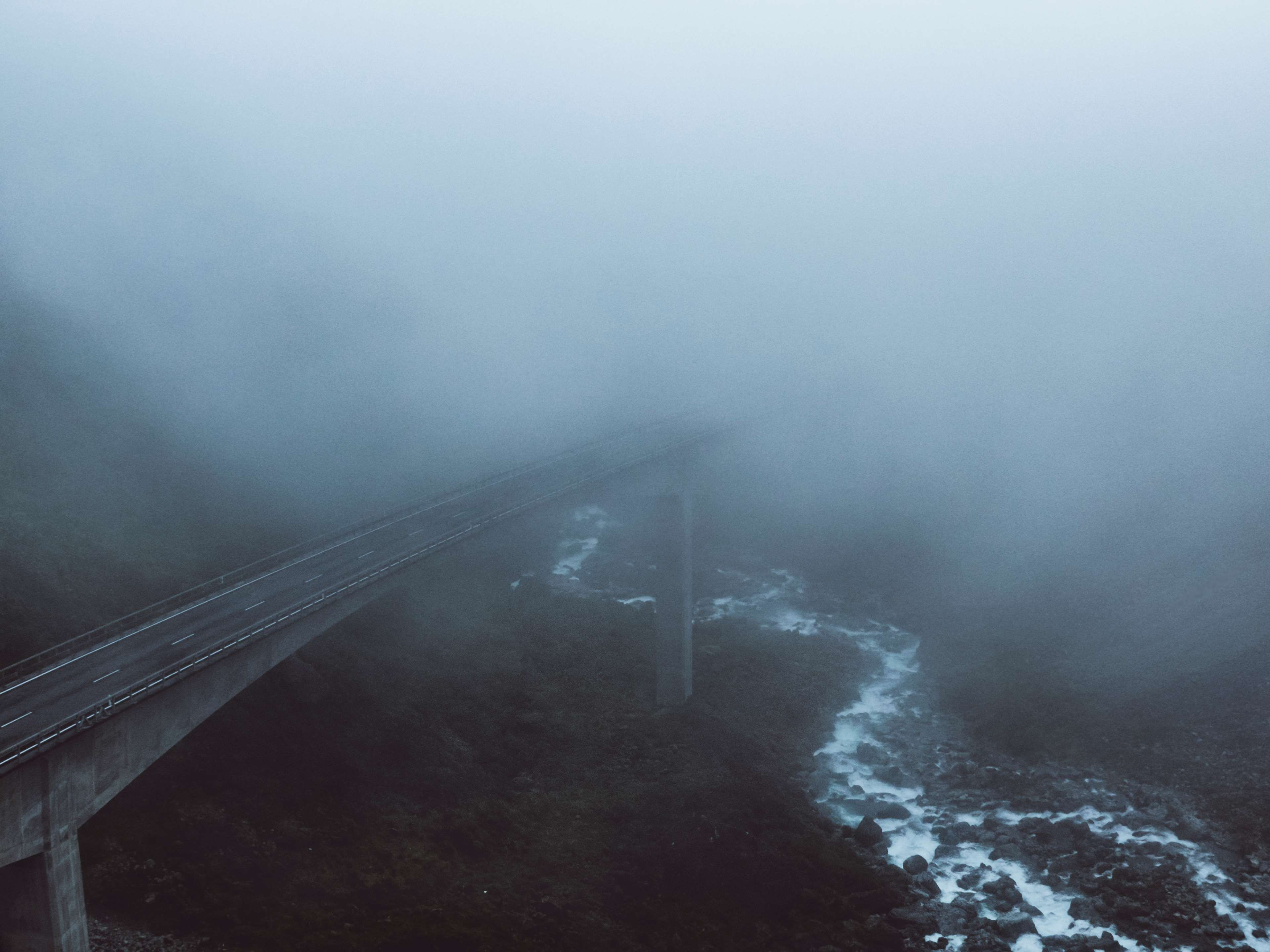 Architecture Bridge Dark Fog Foggy Outdoors River Road Water Weather 4k Wallpaper And Background