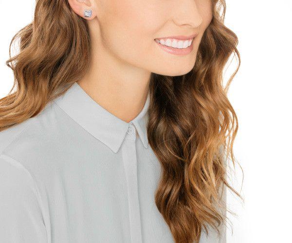 Love Glance Stud Pierced Earrings Blue From Swarovski