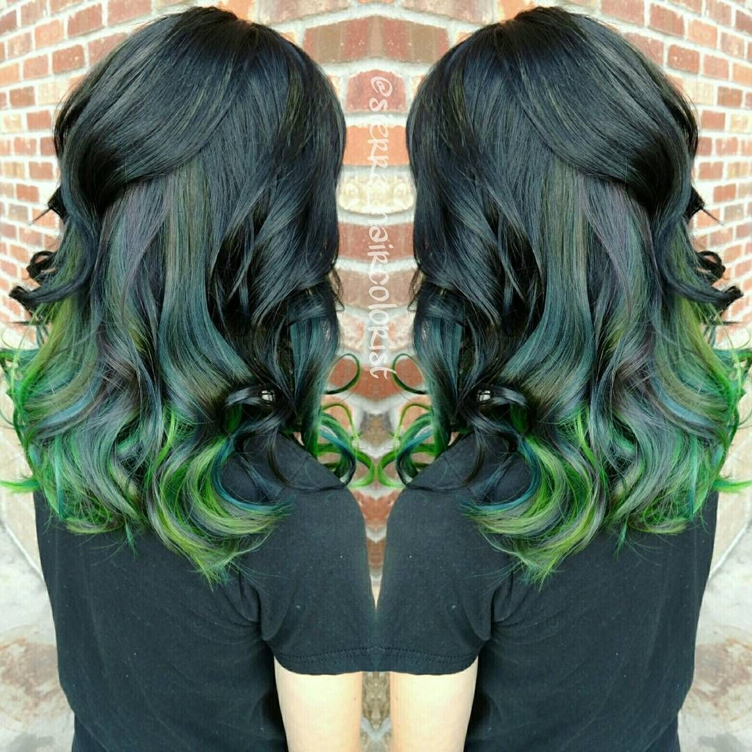 to wear - Green ombre and black hair video