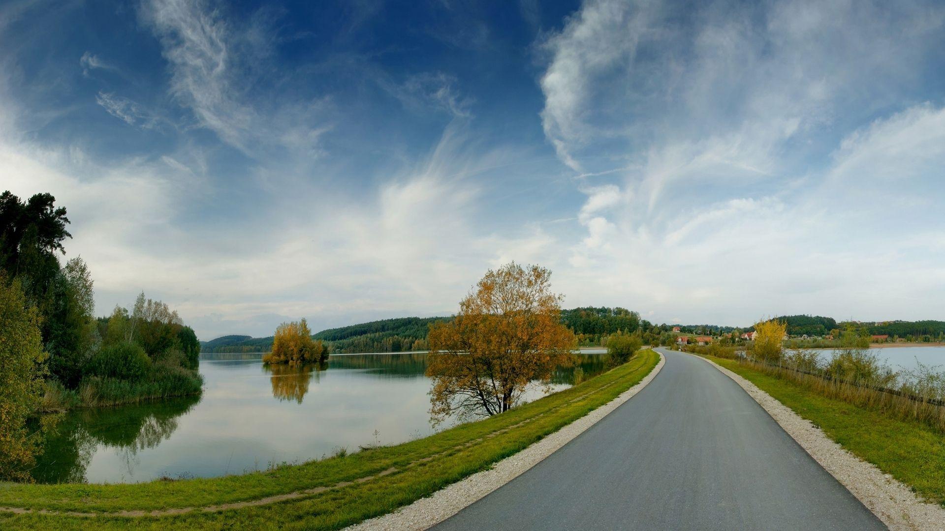 Download Wallpaper 1920x1080 road, lakes, coast, landscape
