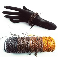 Leather Cord Bracelet IBR-541 Assorted Colors (Unit Price: $0.60) 1 Dozen Pack
