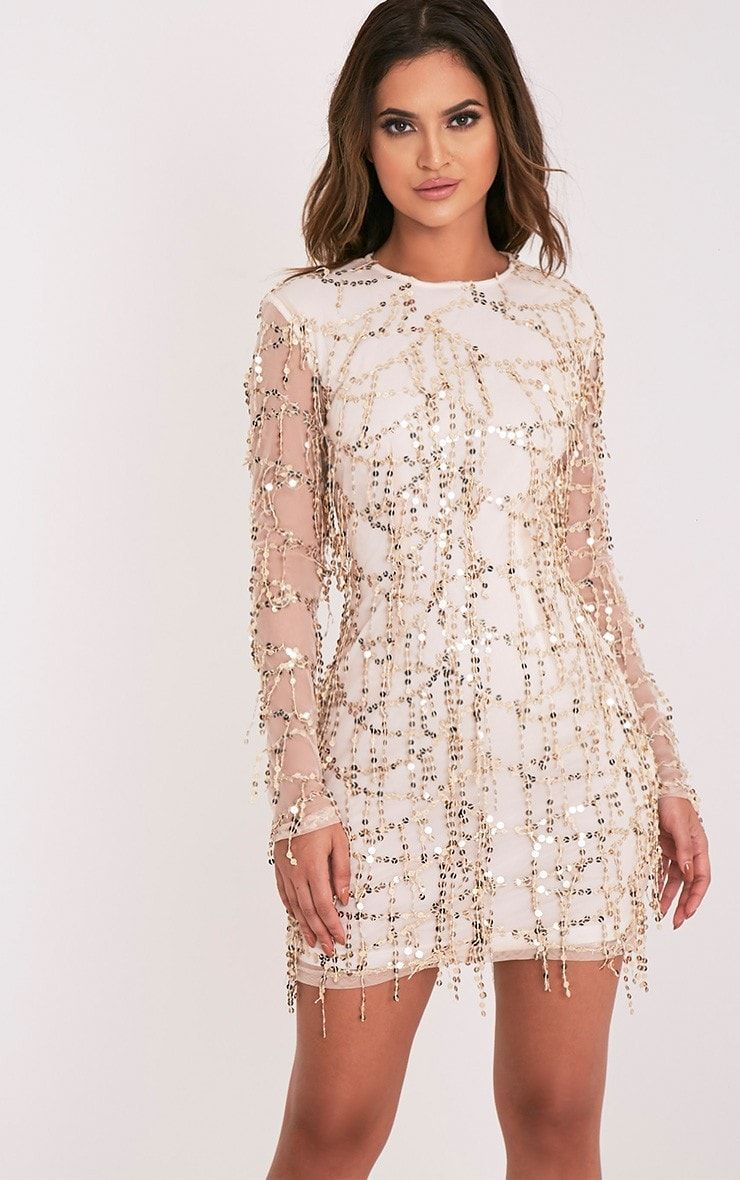 Rose gold sequin detail long sleeve bodycon dressthis long sleeved