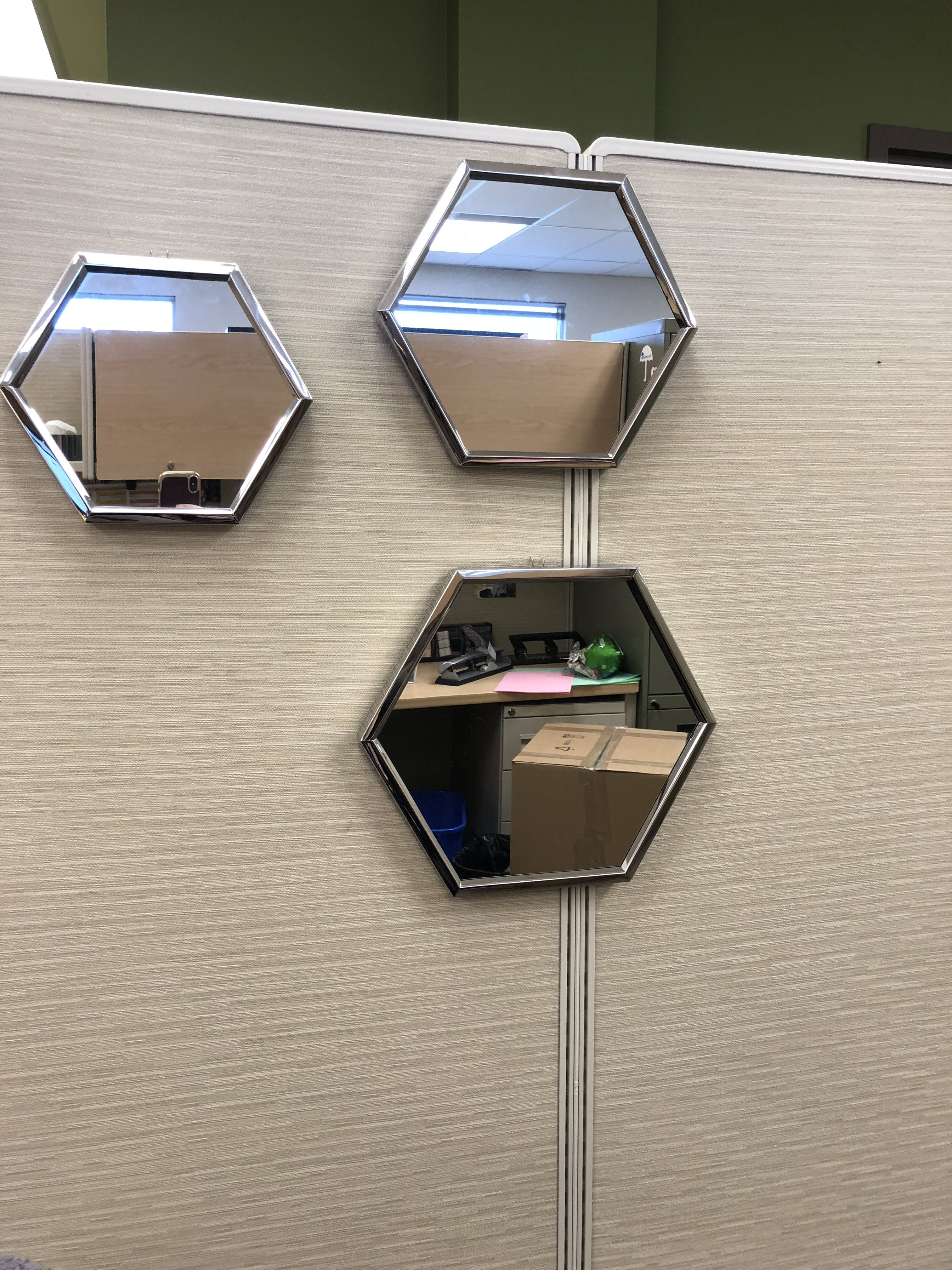 Easy Way To Jazz Up Your Cubicle At Work Hang Mirrors You Can Buy Cubicle Hooks On Amazon For Cheap Cubic Cubicle Organization Cubicle Decor Cubical Decor