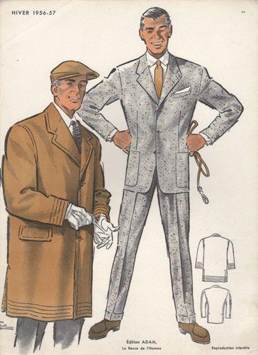 Man In Cap Vintage Fashion Print 1956 1950s Fashion Menswear