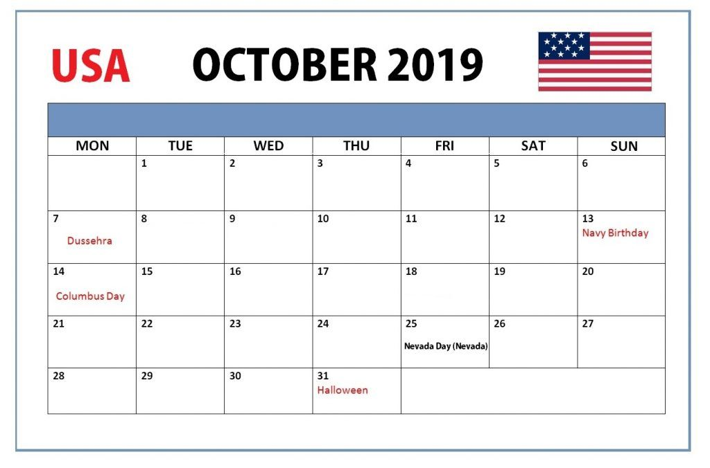 Usa October 2019 Holidays Calendar Holiday Calendar Federal Holiday Calendar Calendar Template
