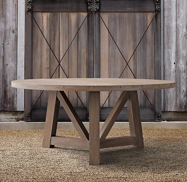 Themostfrenchbeamweatheredteakrounddiningtableinquot - Weathered teak outdoor dining table