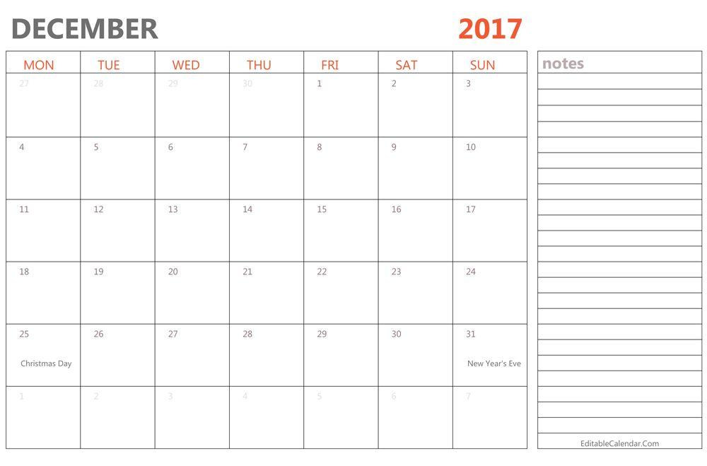 Editable December 2017 Calendar Template budgeting Pinterest - monthly calendar word template