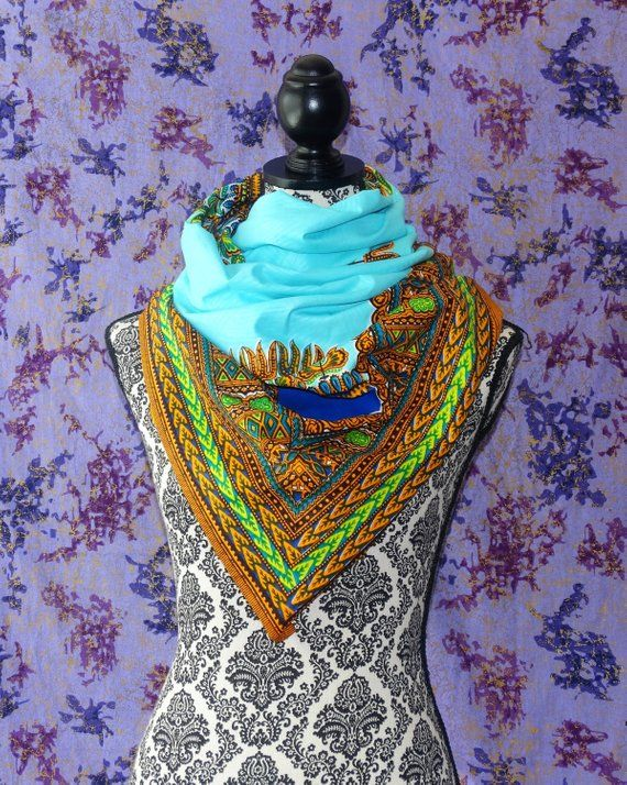 Dashki Fabric African Fashion Ankara Kitenge African: Baby Blue Dashiki, African Print Scarf, Ankara Scarf, Wax