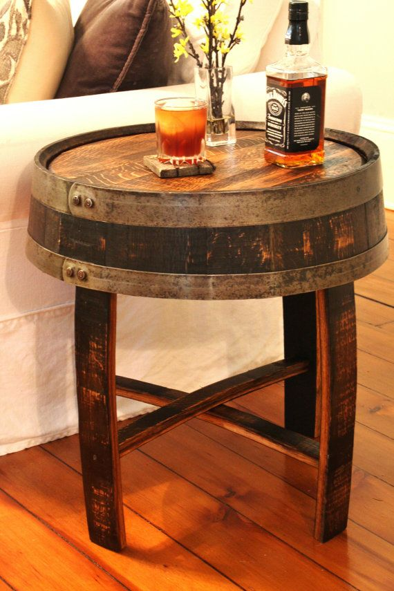 Handcrafted Oak Whiskey Barrel End Table