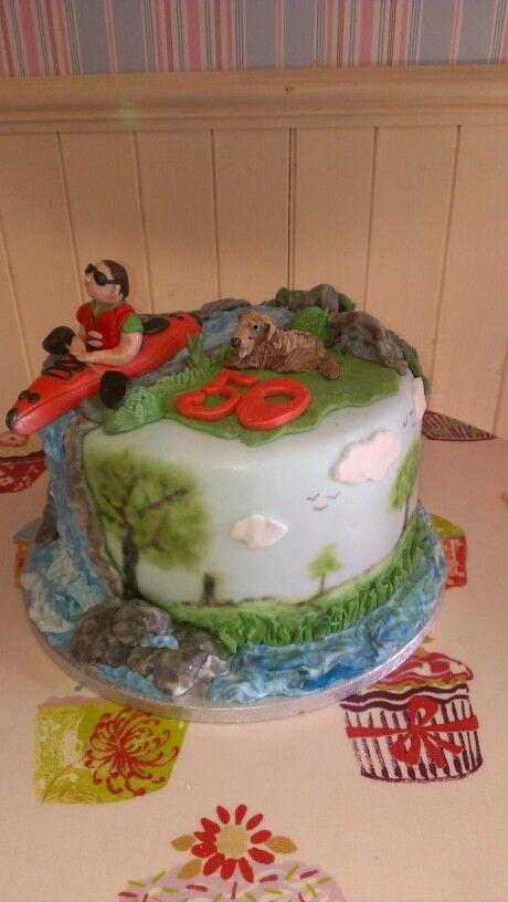 Kayak themed cake.