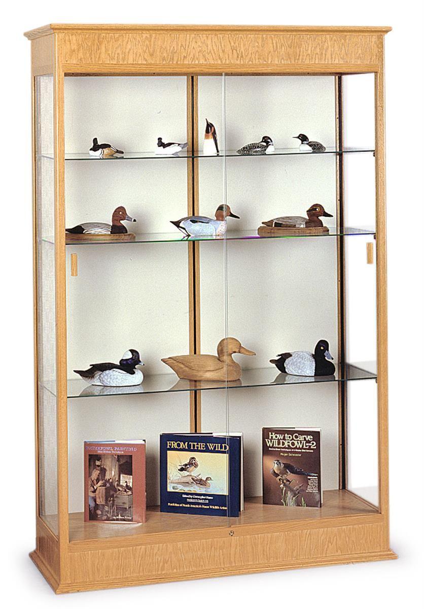 48 Display Case W Adjustable Glass Shelves Top Lights Mirror Back Lock Lt Shelves Glass Showcase Glass Shelves