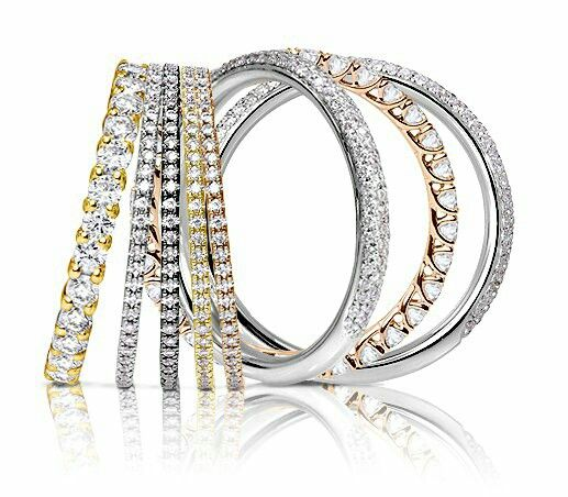 Dainty diamond, stackable rings in white, yellow and rose gold