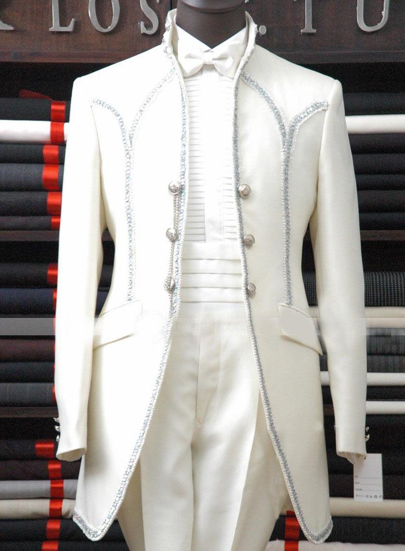 Tuxedo for Men All White Three Button Bridgroom with Pants ...