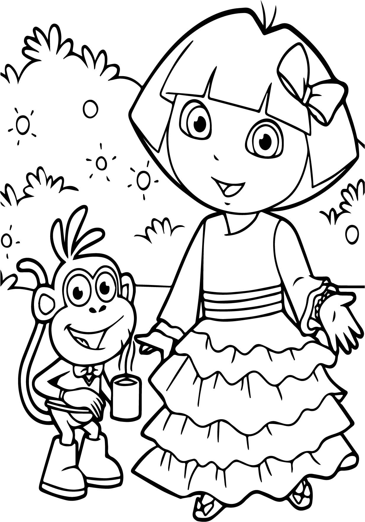 Nice Dora And Monkey Together Coffee Coloring Page