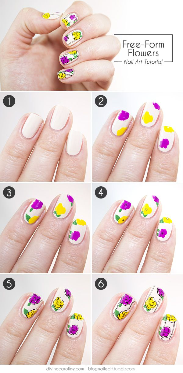 Freehand Fun Floral Nail Art For Spring Floral Nail Art Nail