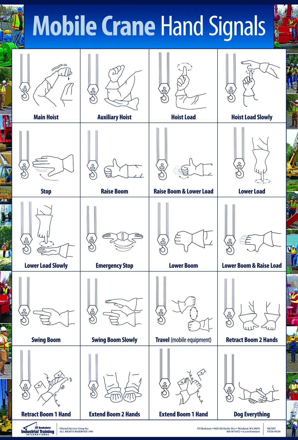 Mobile Crane Hand Signals Poster Hand Signals Crane Safety Workplace Safety Slogans