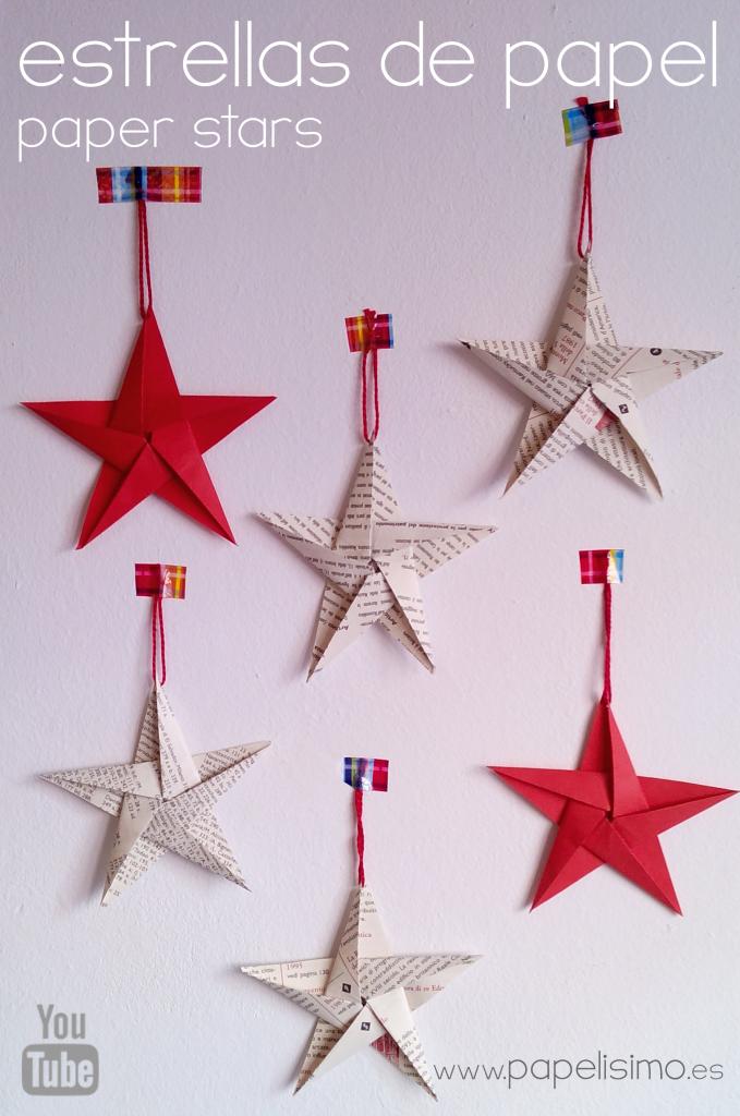 Como Hacer Estrellas De Papel Cinco Puntas Estrellas De Papel Manualidades Navidenas Manualidades