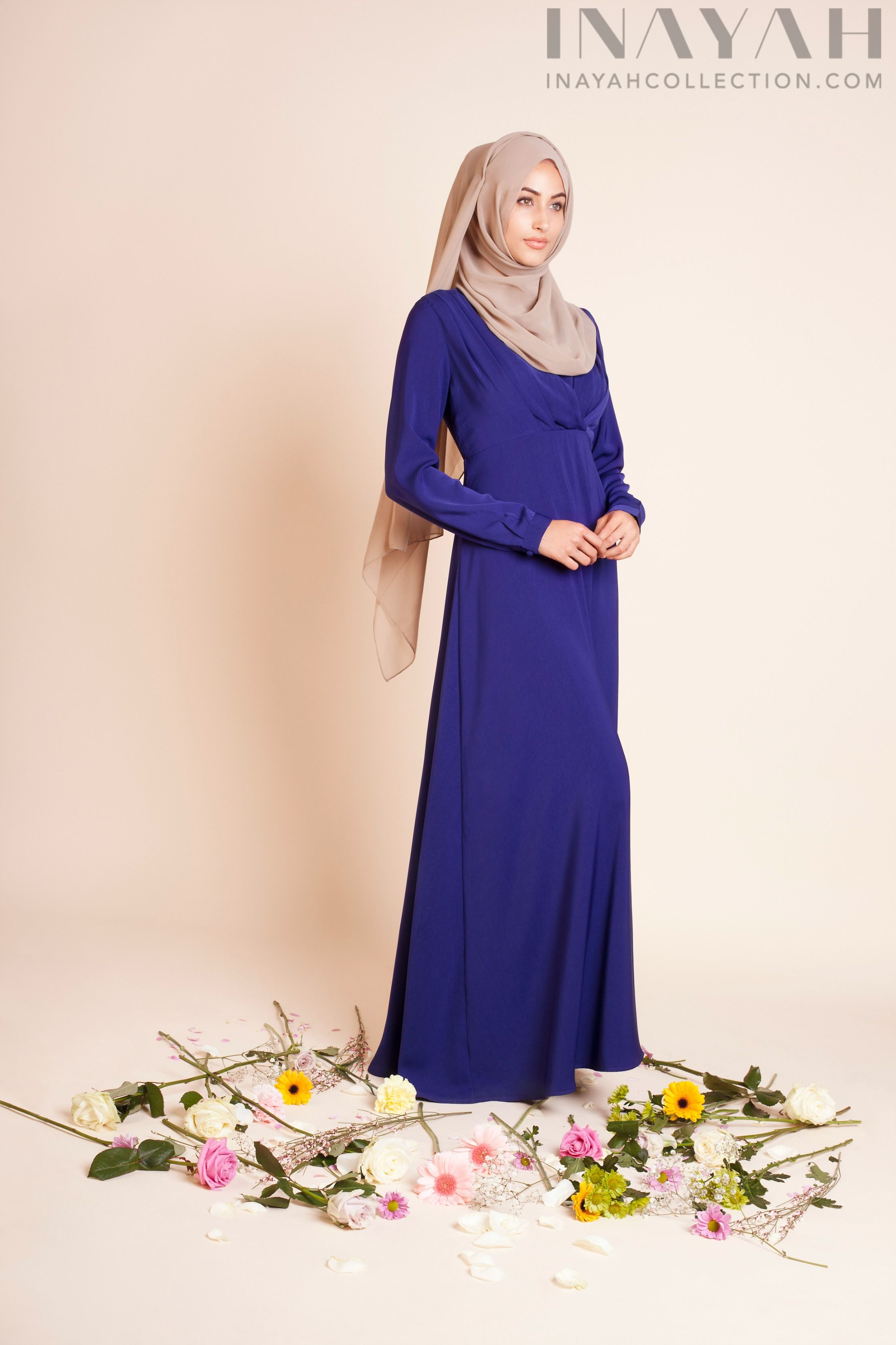 The royal blue ruched abaya soft and subtle this floor sweeping stylish islamic fashion for all occasions modern abaya and dress designs are exclusive and made from high quality natural and synthetic fabrics ombrellifo Gallery