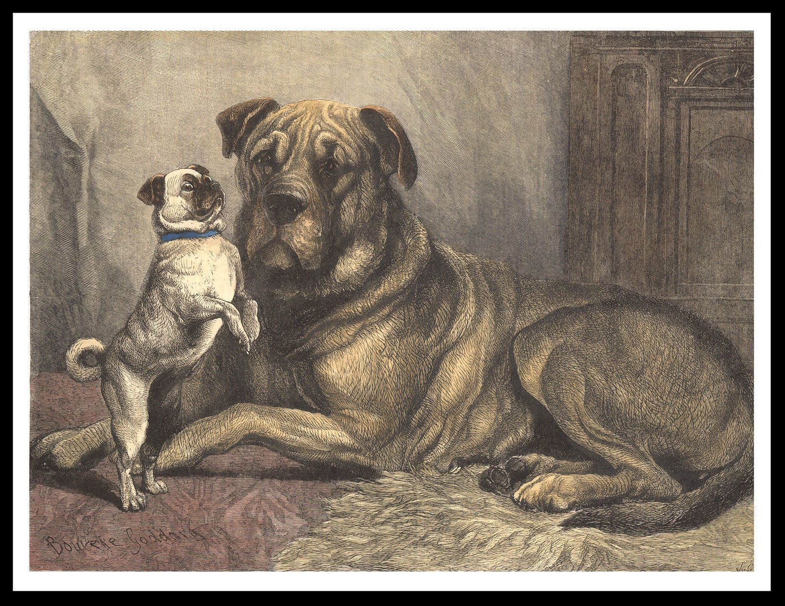 Mastiff And Cute Pug Dog On Great Vintage Style Dog Print Poster Dog Print Art Dog Art Cute Pugs