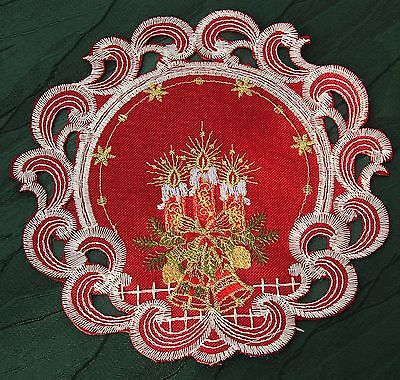 Dark-Red Embroidered Christmas Table cloth Table runner Doily Linen-look Candle