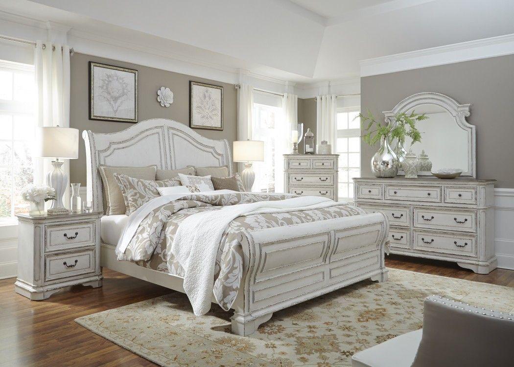 Best Antique White Sleigh Bed Set Elizabeth Collection 640 x 480