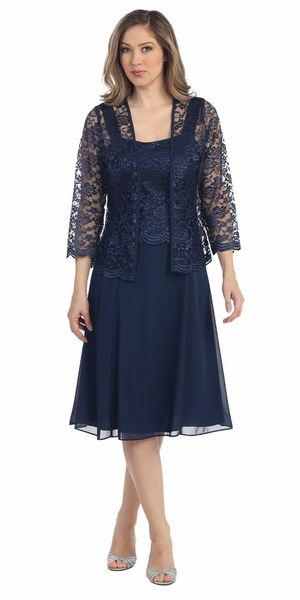Short Navy Blue Mother Of Groom Dress Chiffon Knee Length Lace