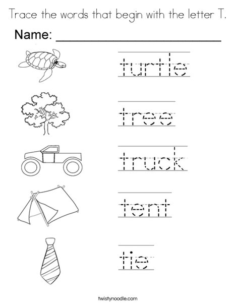 Trace the words that begin with the letter T Coloring Page ...