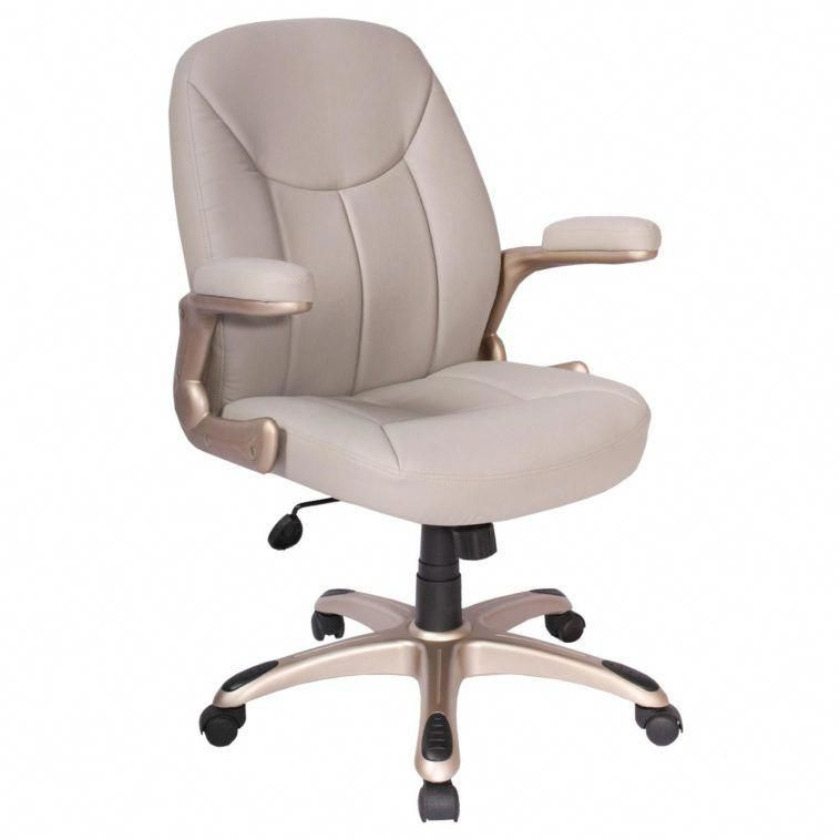 beige leather adjustable height swivel office desk chair with padded