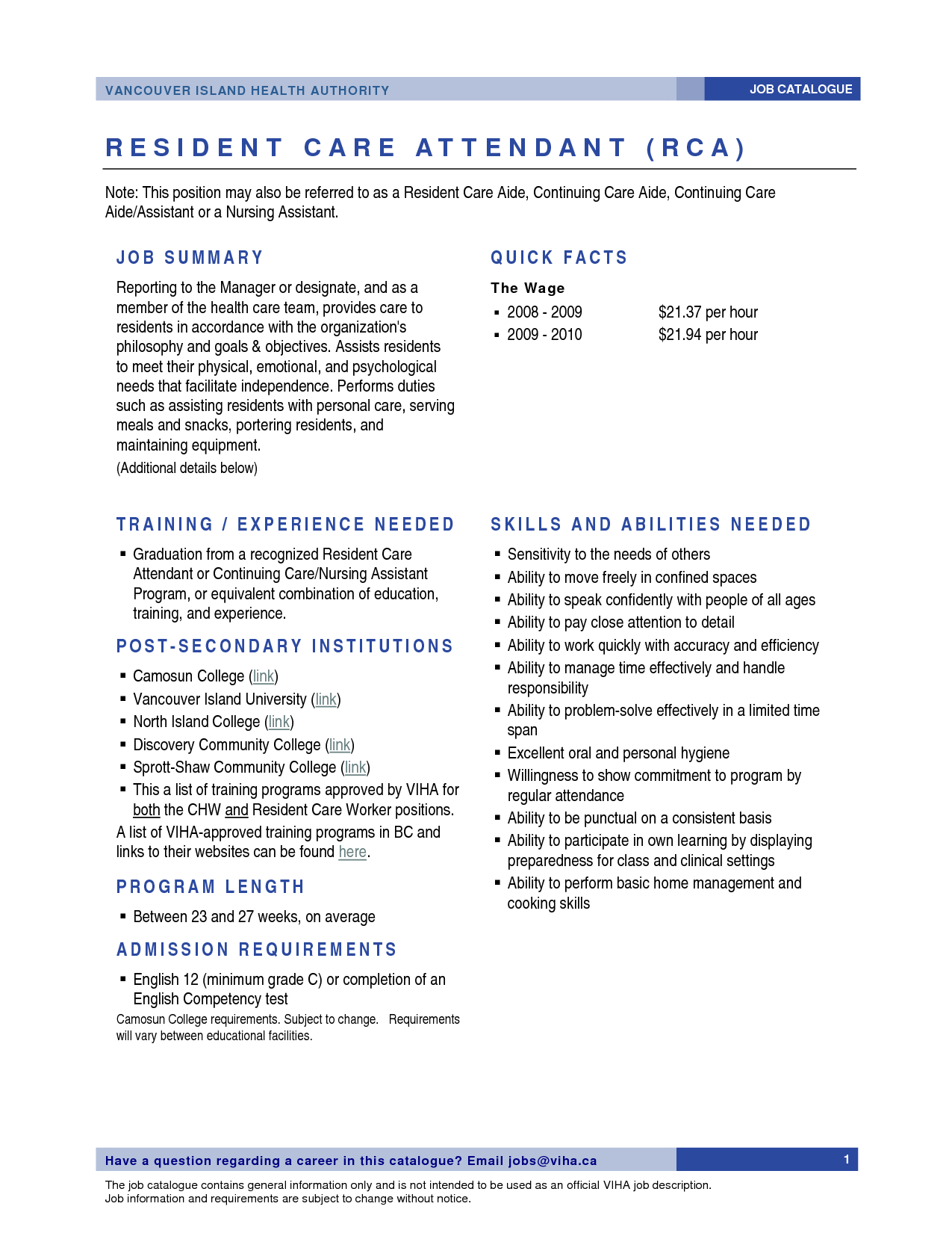 health care aide resume