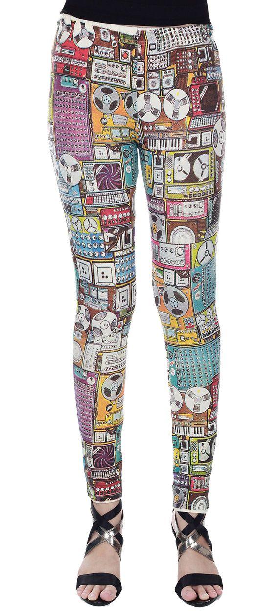 SALE - Leggings Cotton Spandex - New Radio Vintage Style Full Screen Print Leggings Stretch Pants - Code LEG53,LEG54 Size M