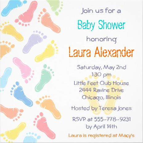 Colorful Footprints Custom Baby Shower Invitations