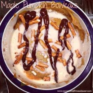 Quick and Easy Maple Pumpkin Bowlcake {130 calories}