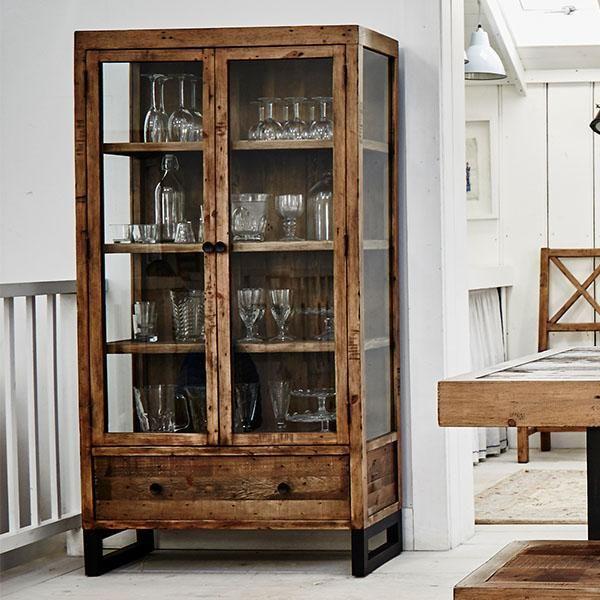 Standford Reclaimed Wood Gl Display Cabinet Modish Living