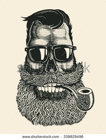 Skull hipster with mustache, beard, tobacco pipes and sunglasses. vector…