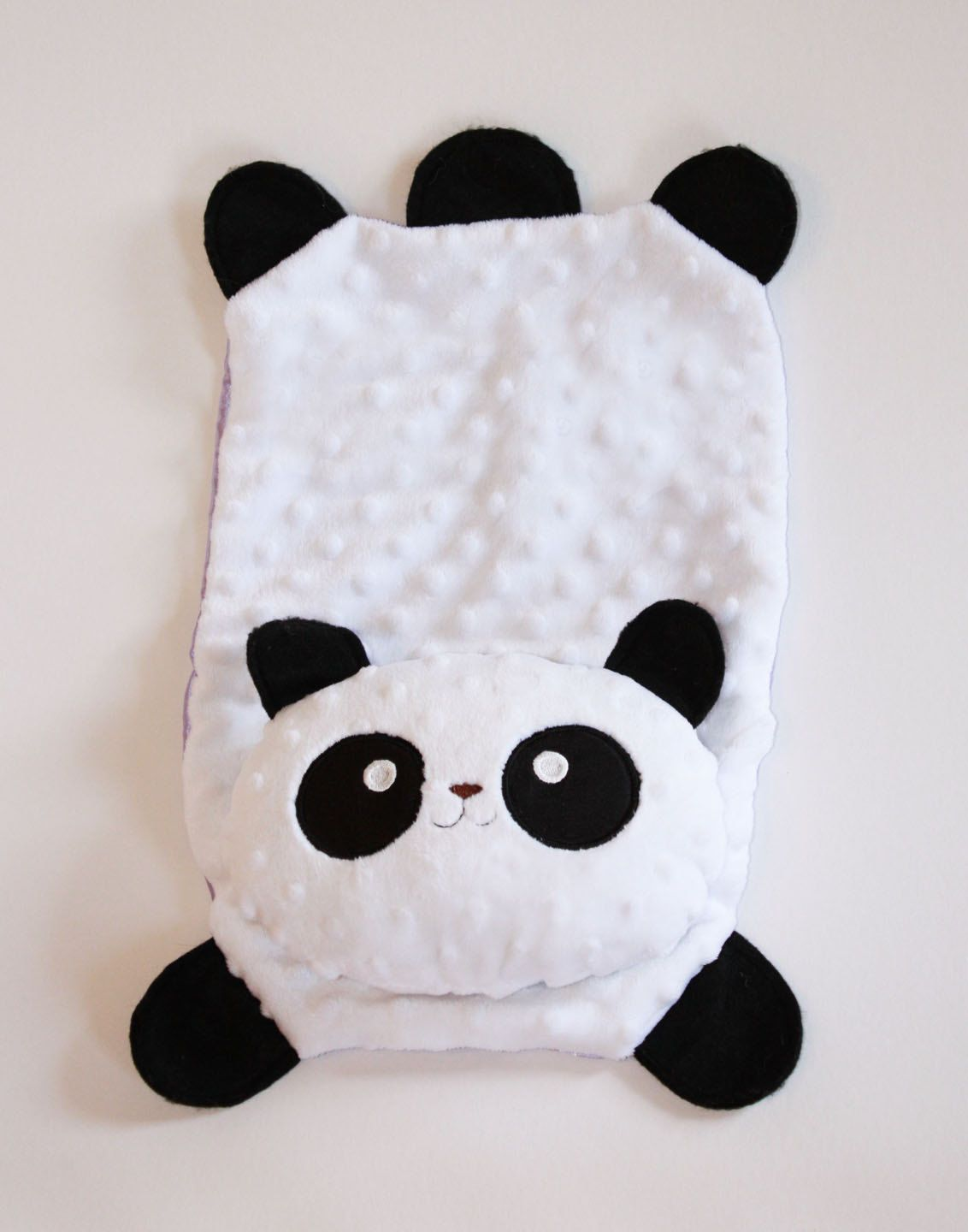 Minky Panda Bear Security Blanket Lovey Blanket Satin Baby