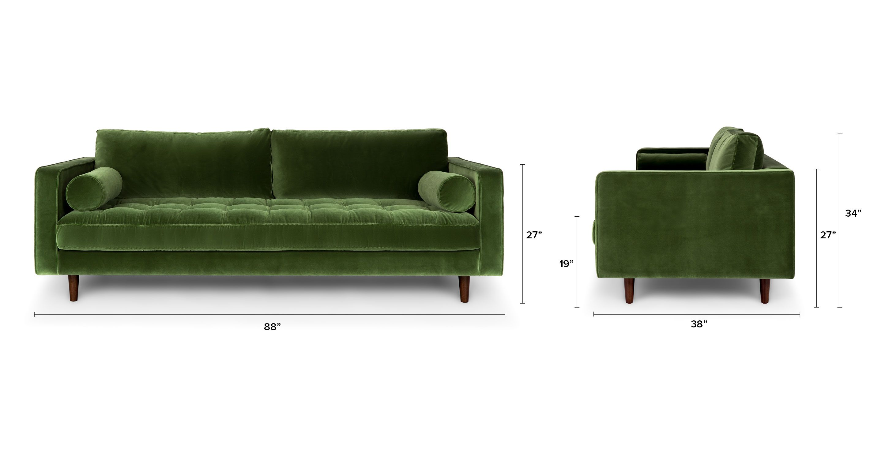 Green Velvet Tufted Sofa Upholstered