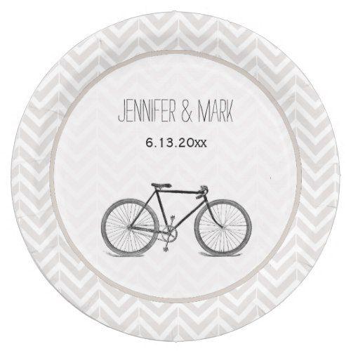 Elegant Gray Chevron Vintage Bicycle Wedding 2 Paper Plate  sc 1 st  Pinterest & Elegant Gray Chevron Vintage Bicycle Wedding 2 Paper Plate | Bicycle ...