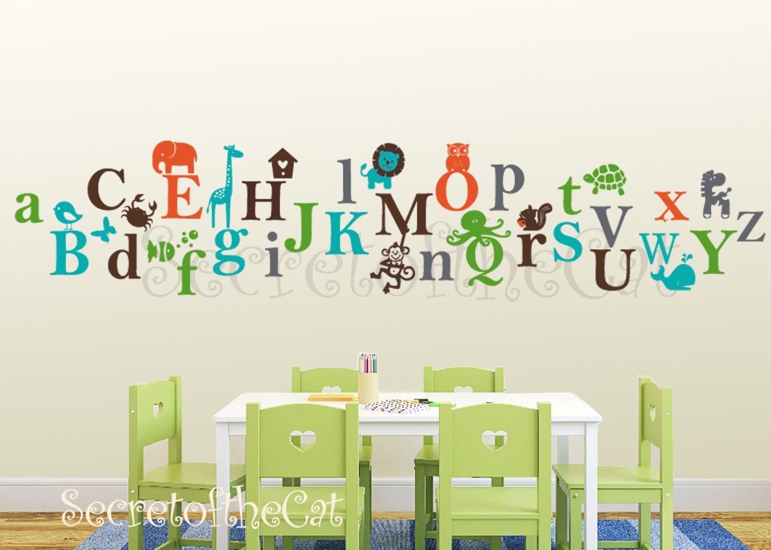 Kids Alphabet Vinyl Decal Abc A To Z Letters Nursery Wall Sticker Children 65 00 Via Etsy