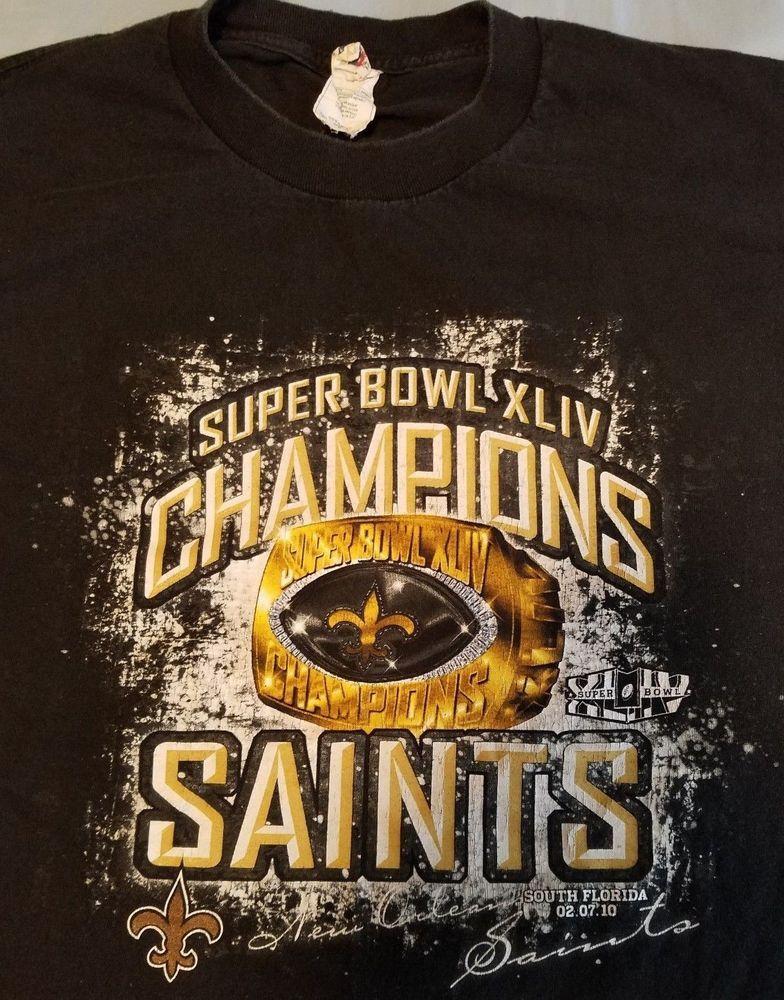 new product e4d23 ecc59 New Orleans Saints NFL Football t-shirt Adult XL Black Super ...
