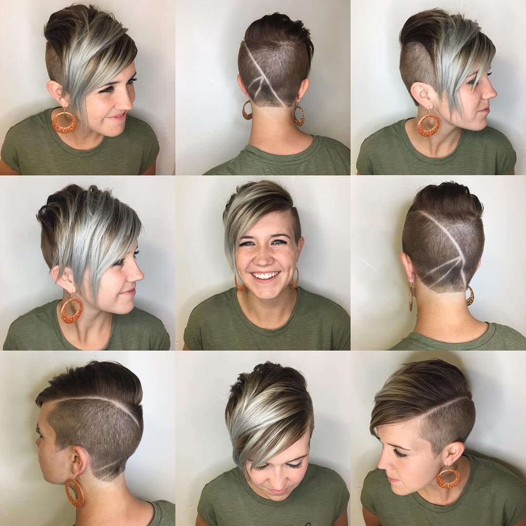 This Edgy Brunette Undercut Pixie with Platinum Highlighted