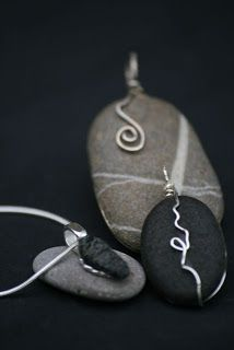 Simple wire and rock pendants. #Jewellery