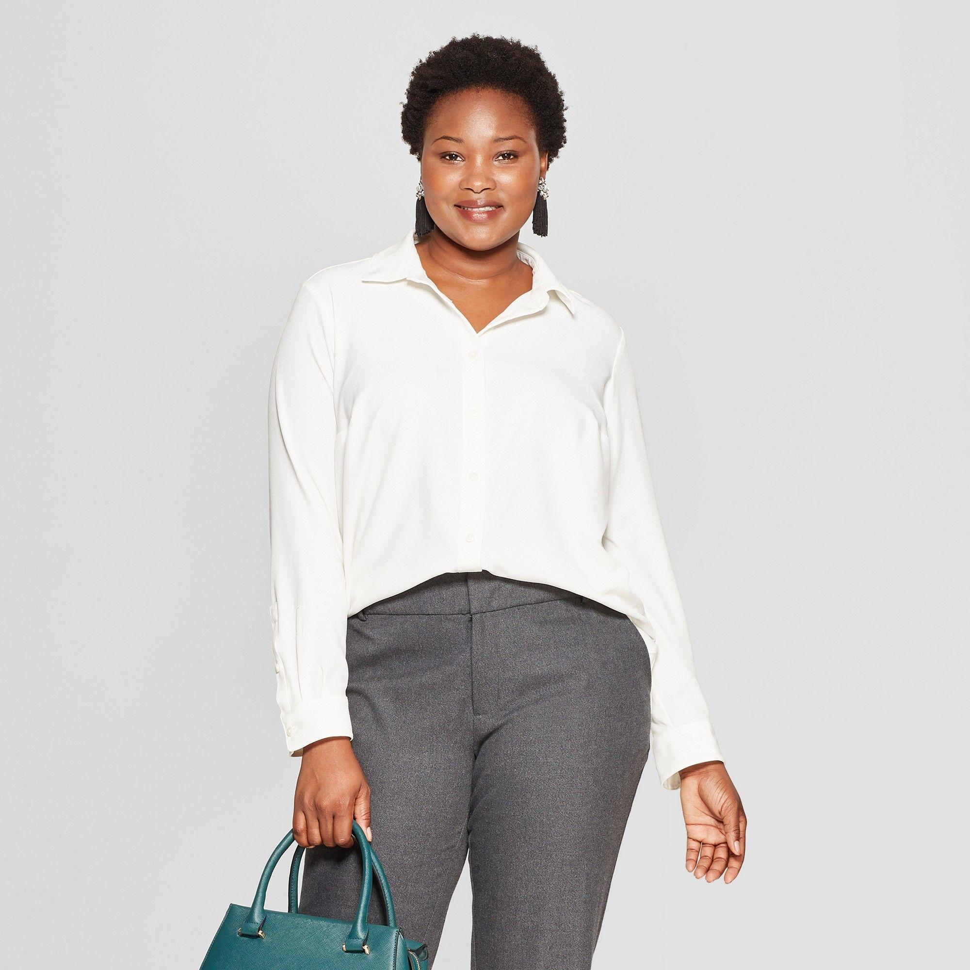 5e2f919dbb3 Women s Plus Size No Gap Button-Down Long Sleeve Blouse - Ava   Viv Cream  (Ivory) 1X