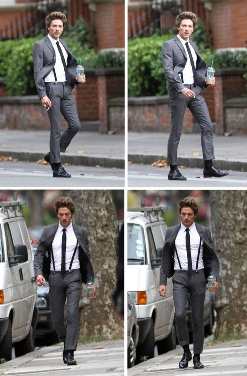 858a02776eb Tyler James - grey suit with black suspenders