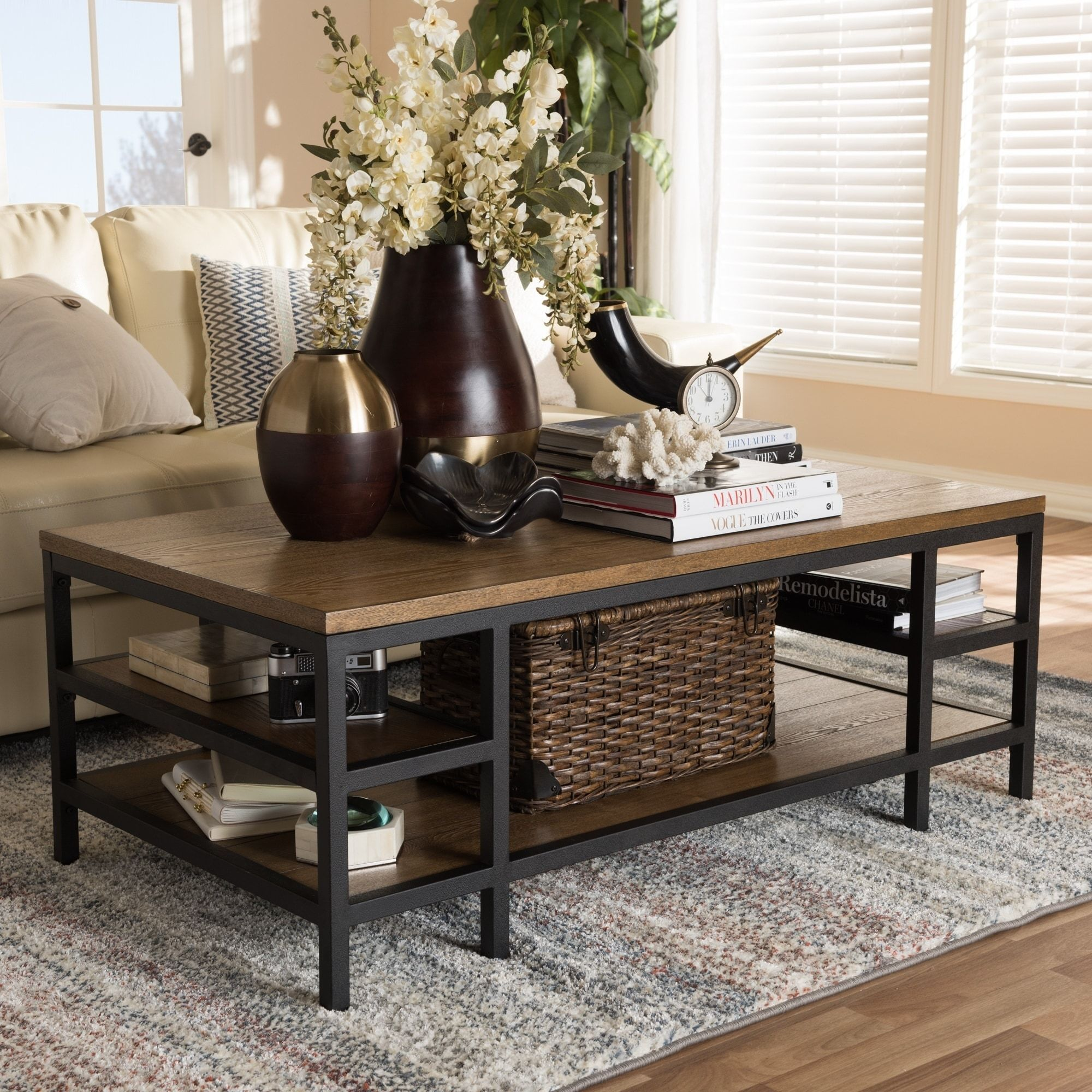 Baxton Studio Rustic Brown Wood And Black Iron Coffee Table Brown