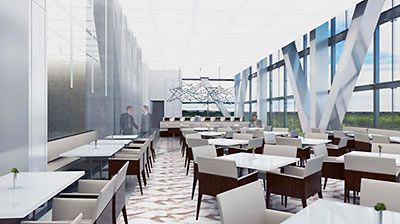 Rendering of Dining Room, ExxonMobil Corporate Campus, North