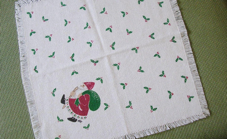 Vintage Christmas tray cloth white table mat fringed edge Santa ...